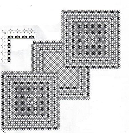 le crochet des8jika napperons carr s et chemin de table. Black Bedroom Furniture Sets. Home Design Ideas
