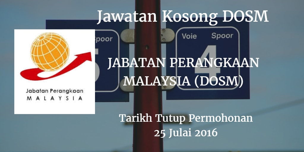 Jawatan Kosong DOSM 25 Julai 2016