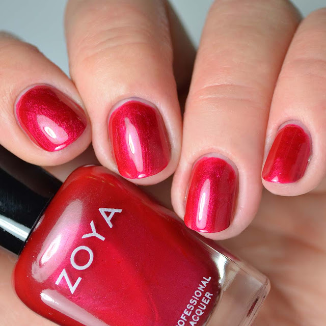 red metallic nail polish four finger swatch