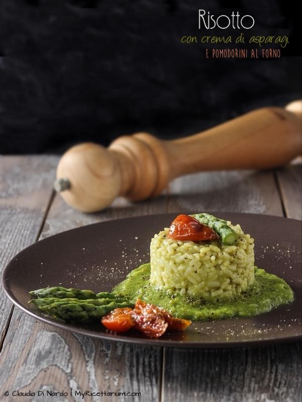 Risotto con crema di asparagi e pomodorini al forno