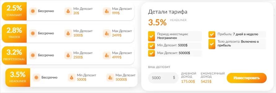 Инвестиционные планы PulsarBank 4