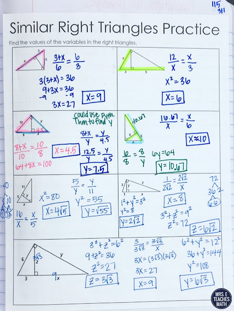 Similar Right Triangles Practice Page