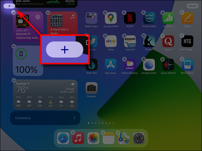 """أثناء تحرير عرض اليوم ، انقر فوق الزر """"زائد"""" لإضافة عناصر واجهة مستخدم في iPadOS 14."""
