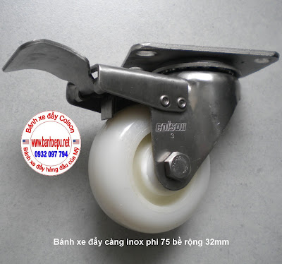 bánh xe đẩy càng inox có khóa Nylon 6 pa phi 75 colson www.banhxepu.net