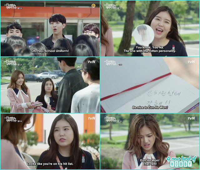 ja young told seo woo that she is ha won step sister , seo woo give an autograph saying be good to ha won  - Cinderella and Four Knights - Episode 12