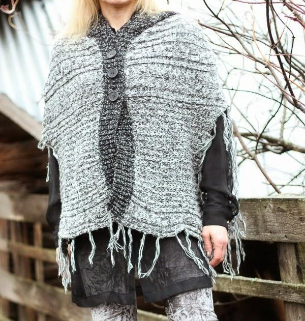 pontso neulottu poncho knitted knit
