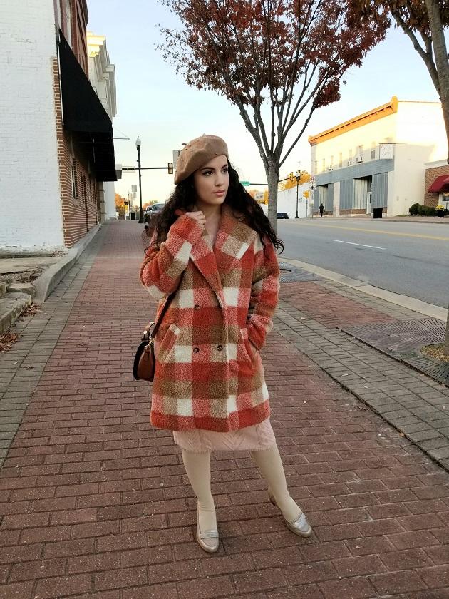 SHEIN Orange Plaid Teddy Coat