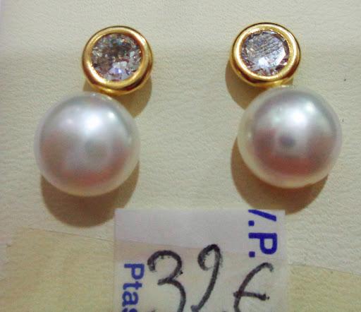 Pendientes de perla y circonita, plata dorada