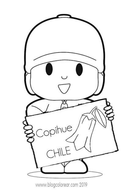 Colorear Pocoyo y Dora con Copihue