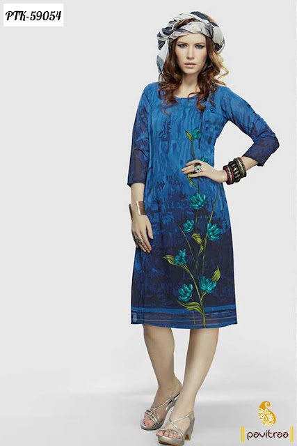 new fashion daily office wear modern women blue creape casual kurti online shopping at low cost