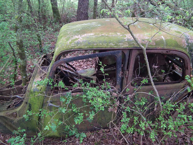 Citroen Traction Avant, abandoned in WWII.  Indre et Loire, France. Photographed by Susan Walter. Tour the Loire Valley with a classic car and a private guide.