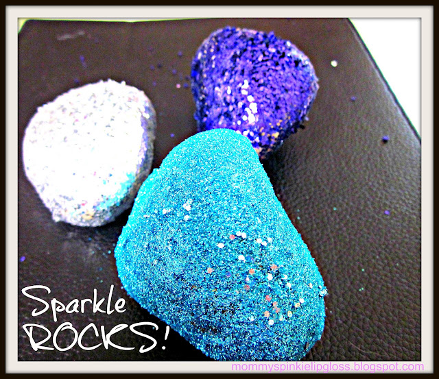 Glitter craft, rock crafts, glitter diy