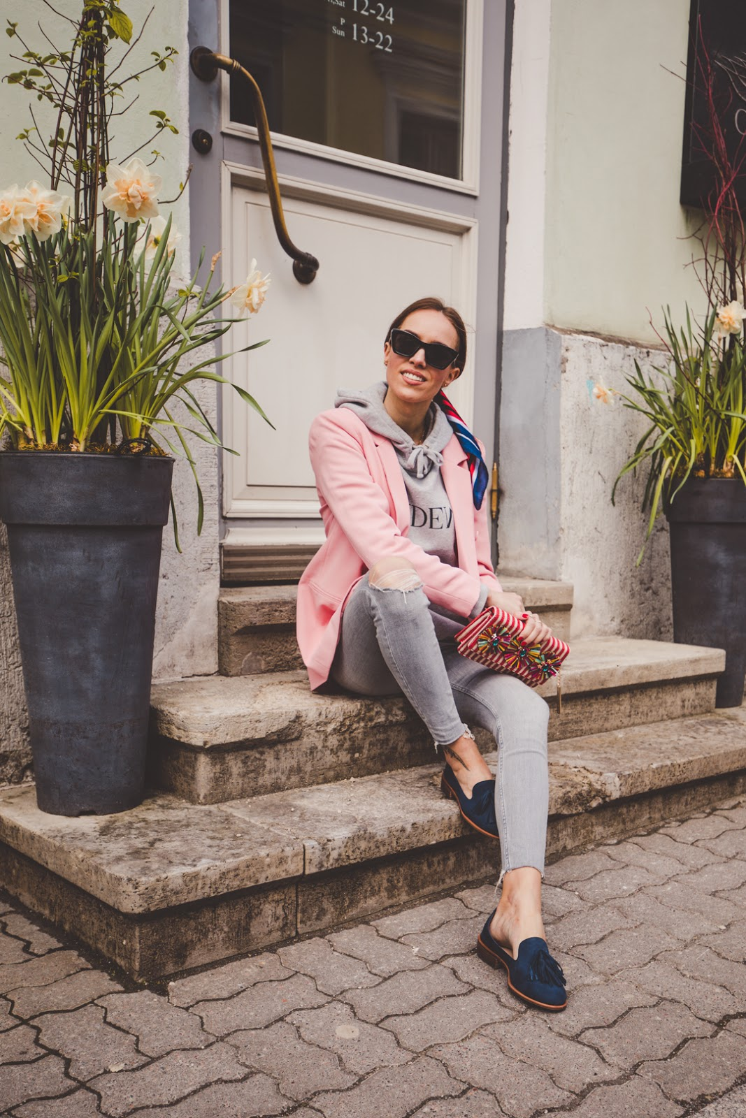 blazer hoodie jeans loafers spring outfit