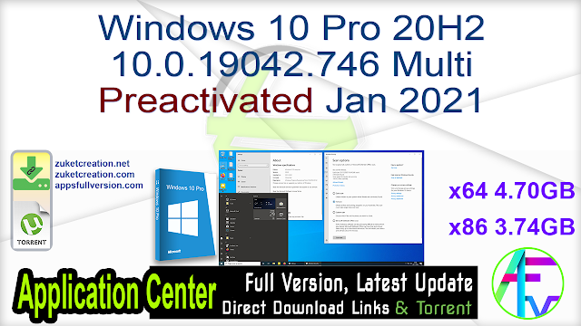 Windows 10 Pro 20H2 10.0.19042.746 Multi Preactivated Jan 2021