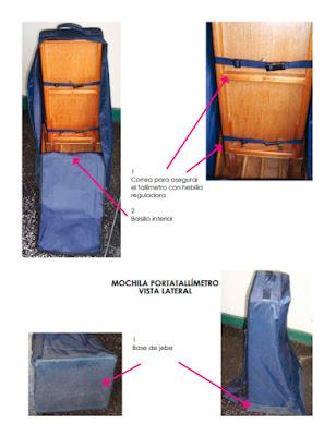 vista interior mochila porta tallimetro caracteristicas esquema