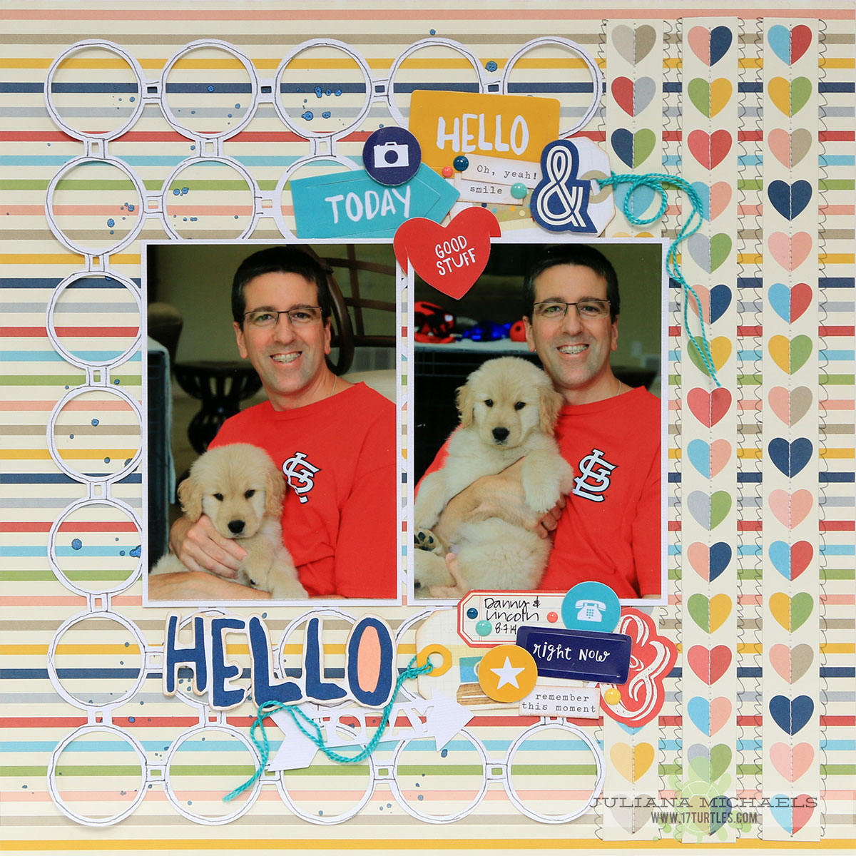 Hello Puppy Scrapbook Page by Juliana Michaels 17turtles featuring Simple Stories Life Documented and free cut file called Circle Grid