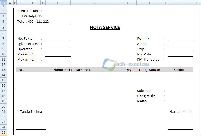 Contoh Form Nota Service Bengkel Mobil Dalam Excel Adhe Pradiptha