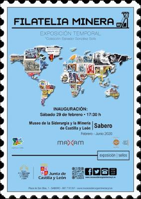 cartel, exposición, filatelia, sellos, museo de siderurgia y minería, Sabero