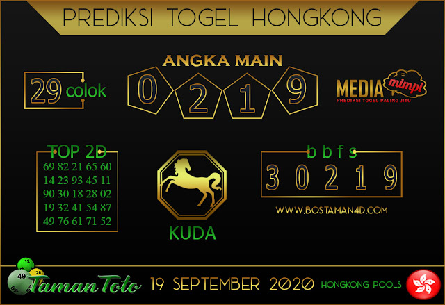 Prediksi Togel HONGKONG TAMAN TOTO 19 SEPTEMBER 2020