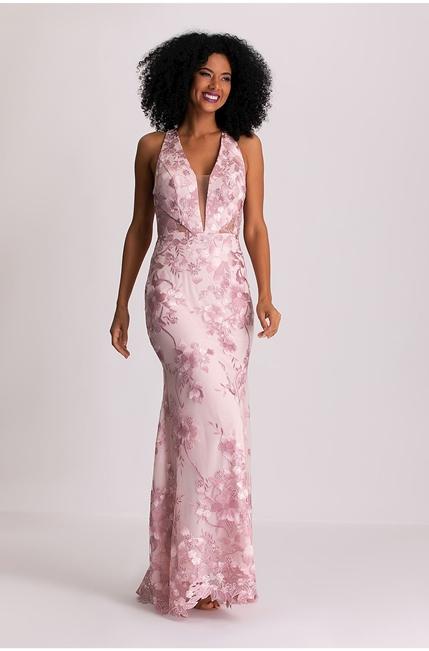 vestido longo rosa claro bordado para madrinha