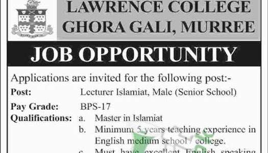 Lawrence College Ghora Gali Murree Jobs 2019 Latest Opportunities