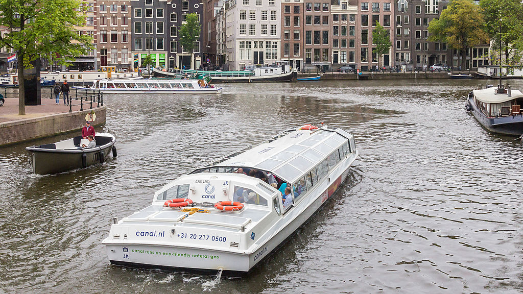 family-friendly Amsterdam - a canal boat on the river