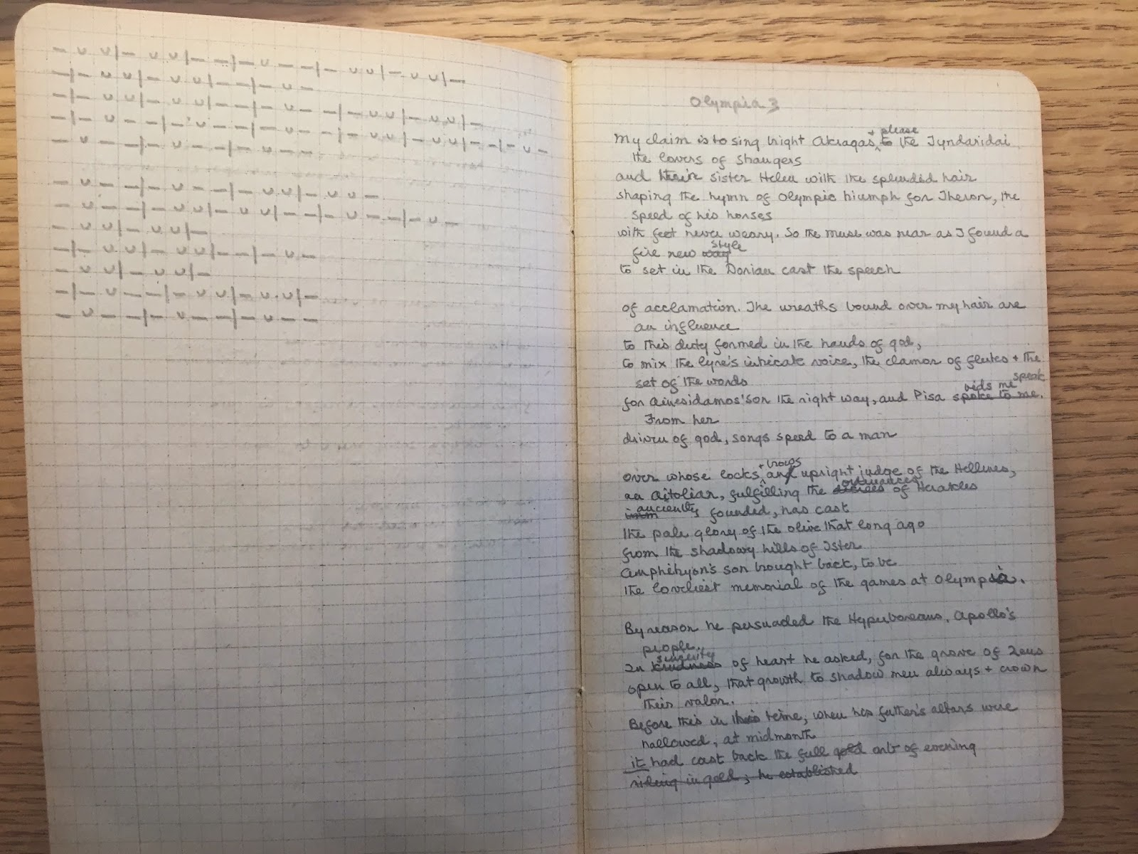 An open notebook of graph paper, filled with notes.