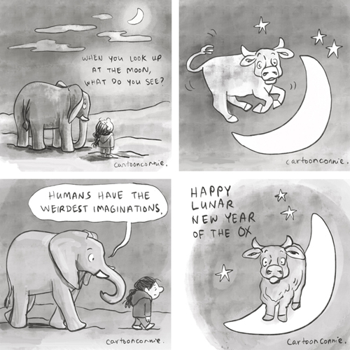 Illustrations of the moon, an elephant, and a cow jumping over the moon, ox over the moon, year of the ox, chinese new year, humor, sketchbook drawing by Connie Sun, cartoonconnie