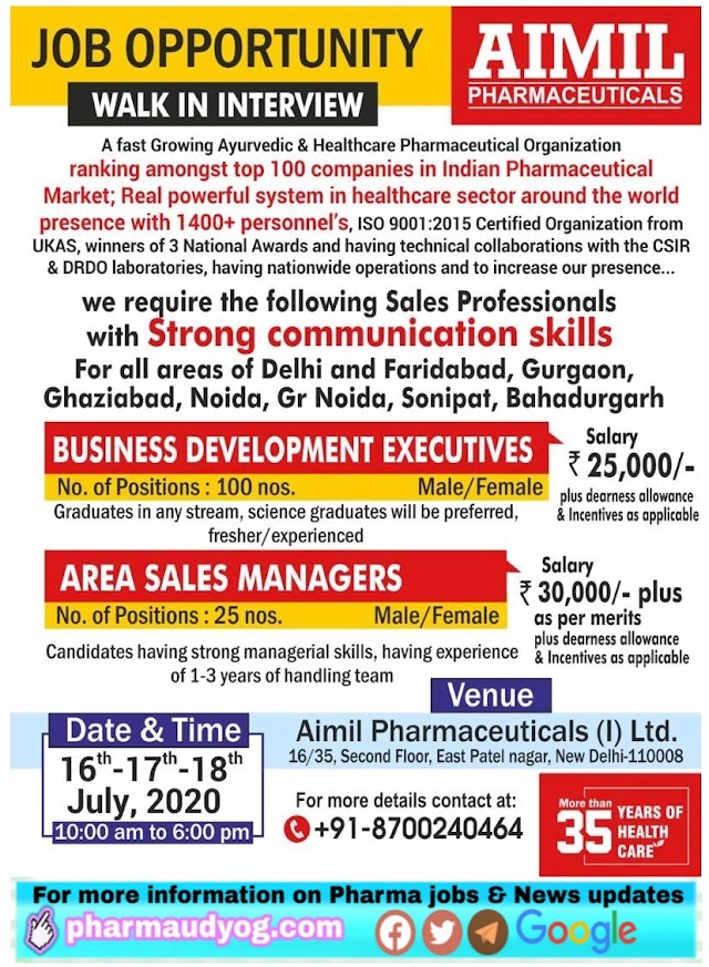 AIMIL Pharmaceuticals | Walk-in for BD executives & ASMs at Delhi NCR on 16,17&18 July 2020