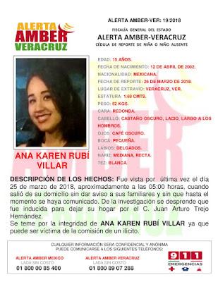 Activan Alerta Amber para Ana Karen Rubi Villar en el Puerto de Veracruz