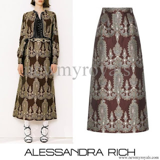 Queen Maxima wore ALESSANDRA RICH Paisley Quilted Skirt