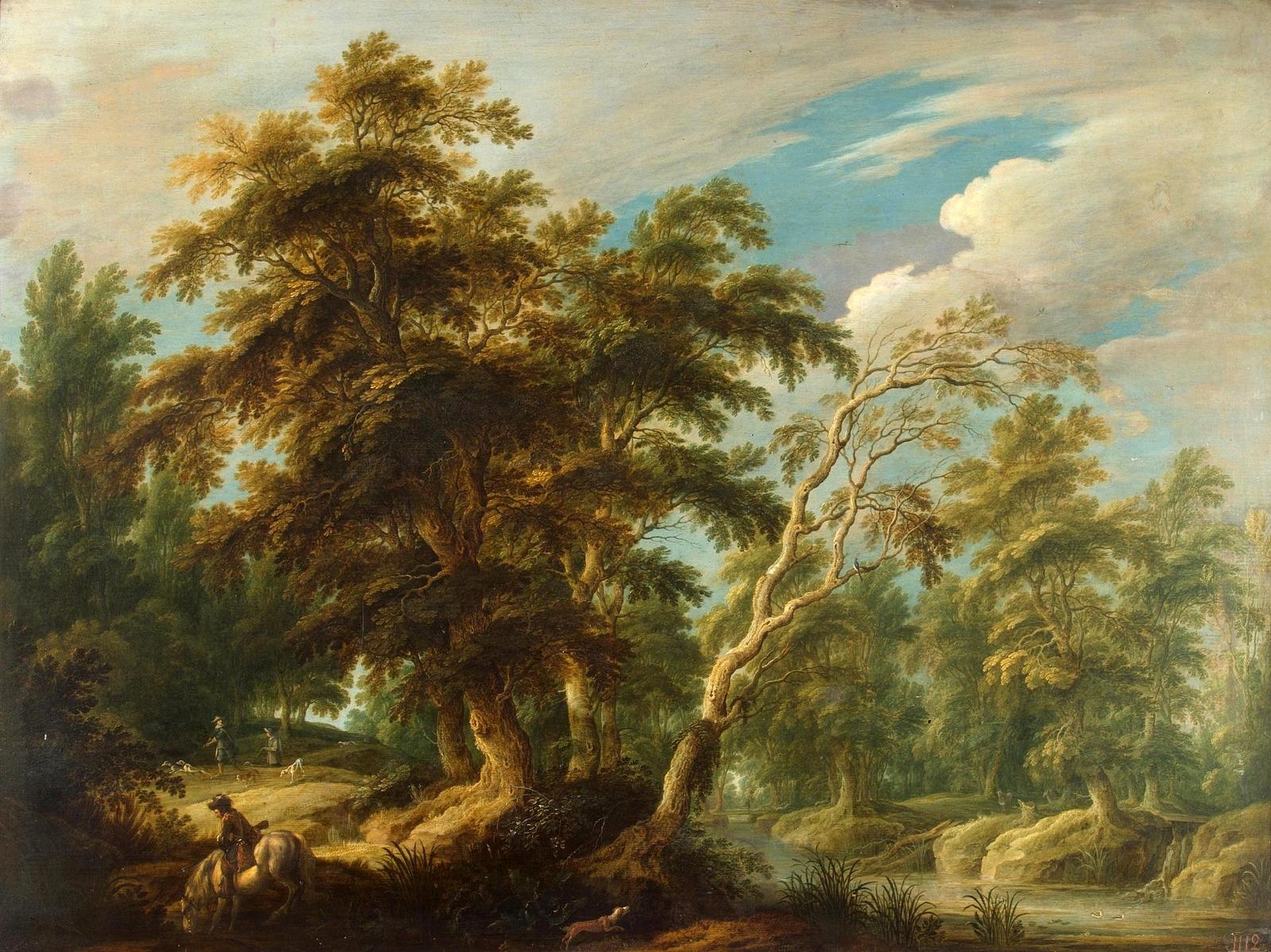 Обои картина, Лесной Пейзаж с Оленьей Охотой, Ян Брейгель старший. Разное foto 17