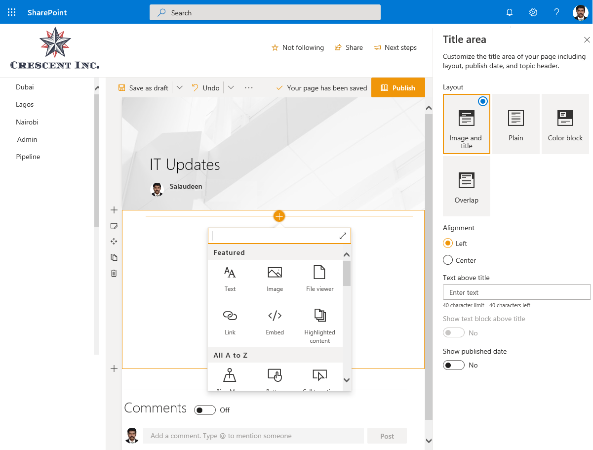 sharepoint online create modern page
