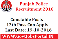 Punjab Police Recruitment 2016 For Constable Posts Apply Online Here