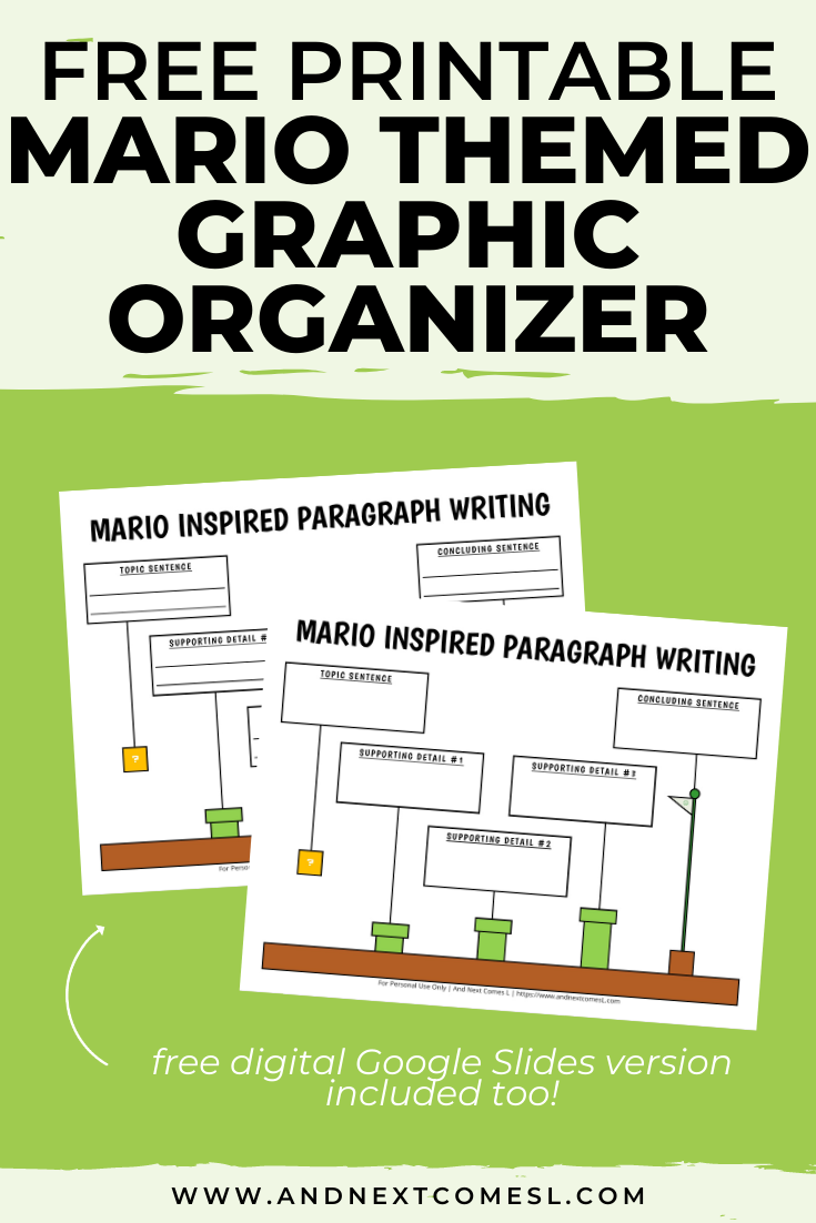 Free Mario themed graphic organizer for writing paragraphs