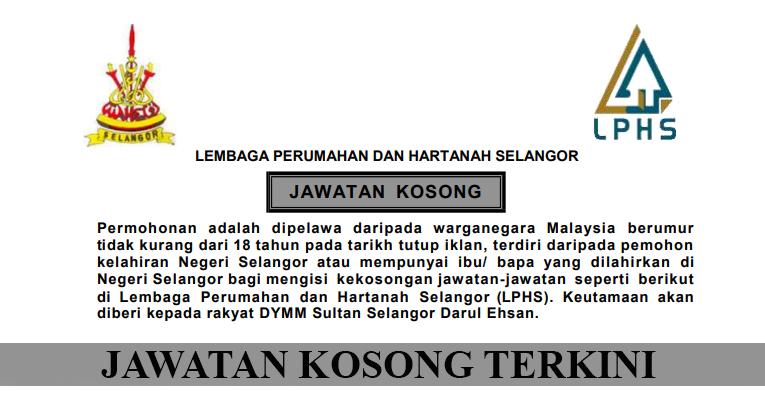 Kekosongan Terkini di Lembaga Perumahan dan Hartanah Selangor