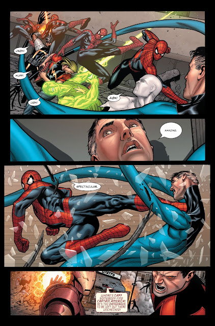 Spiderman fighting Thunderbolts and Reed Richards