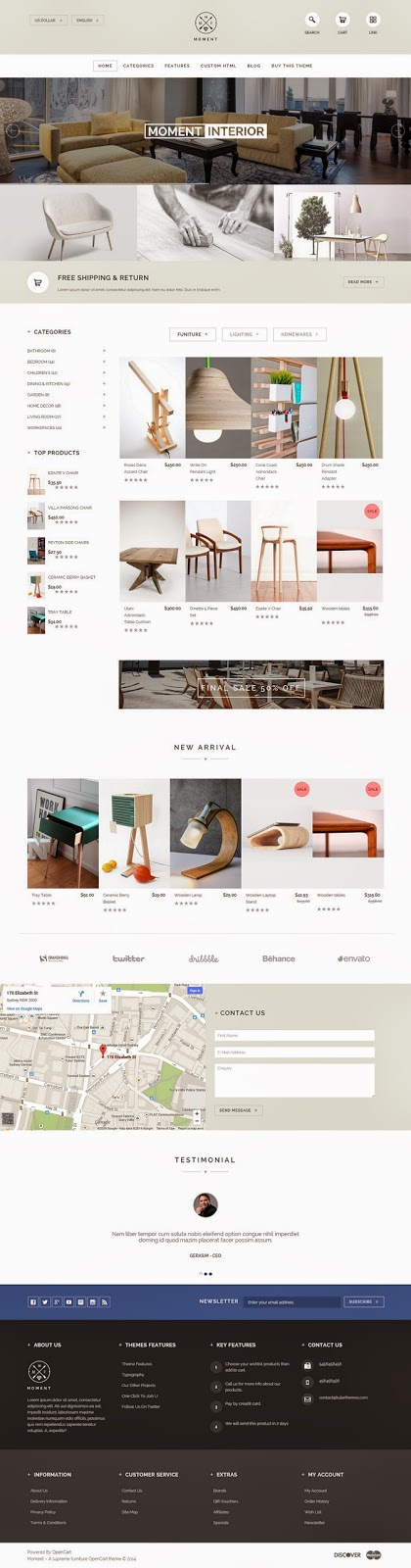 Premium furniture OpenCart theme