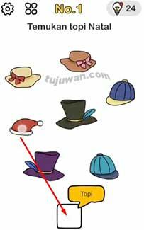 kunci jawaban temukan topi natal brain out