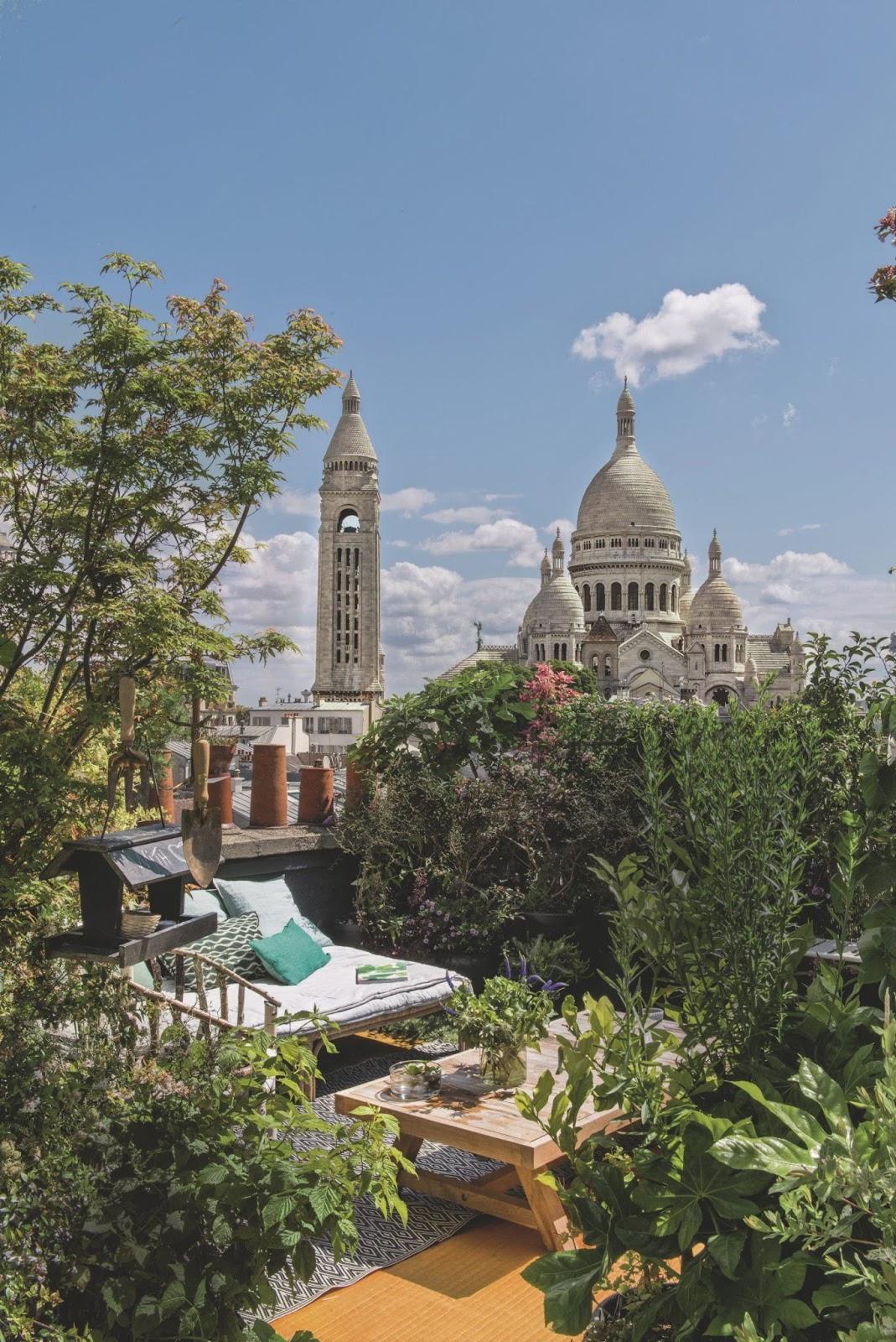 Apartamento en París con jardín urbano en el tejado.