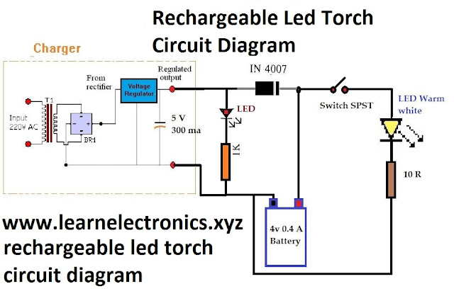 China Rechargeable Torch Light Circuit Diagram