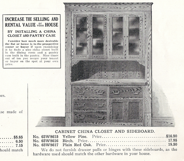 black and white rendering of china cabinet in 1915 Sears building supplies catalog