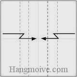 Bước 3: Gấp gấp khúc hai cạnh giấy vào trong.