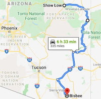 Map from Show Low to Bisbee