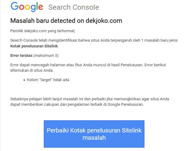 cara mengatasi kotak penelusuran sitelink error