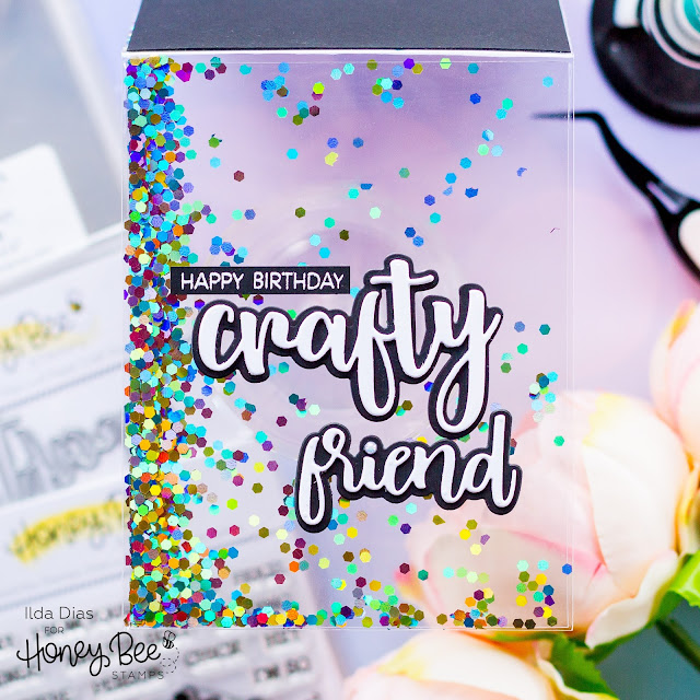 Full Panel See Through Shaker Card,Honey Bee Stamps,Acetate, Shaker Pocket, Crafty, Birthday, Glitter,Bitty Buzzwords,Card Making, Stamping, Die Cutting, handmade card, ilovedoingallthingscrafty, Stamps, how to,