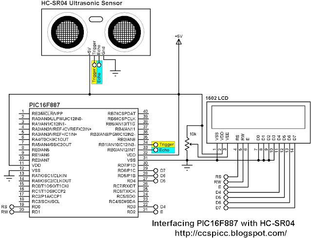 Interfacing PIC16F887 with HC-SR04 ultrasonic sensor circuit diagram