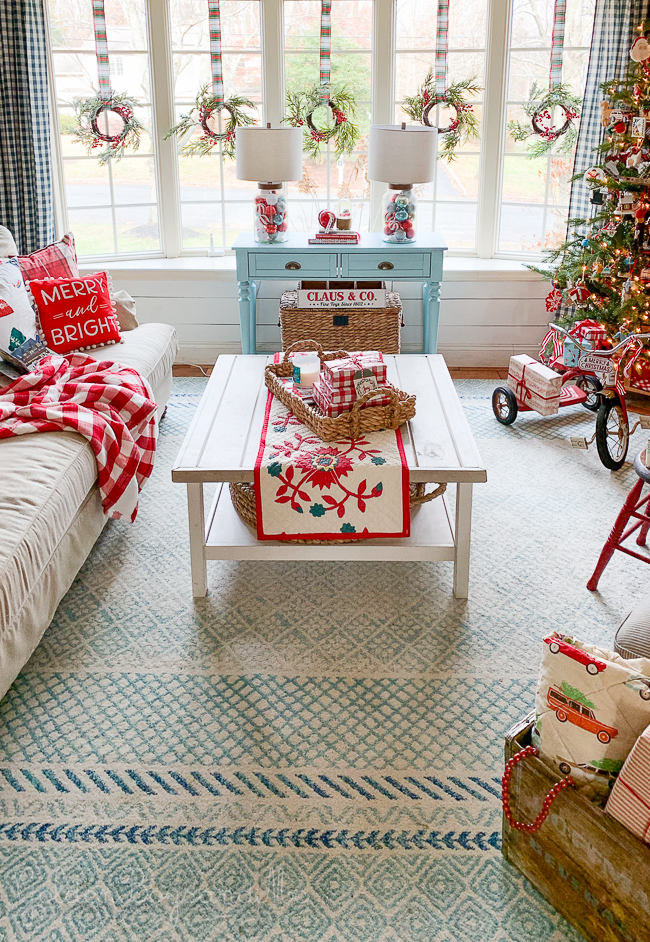 Invergordon rug from BoutiqueRugs.com in holiday living room - www.goldenboysandme.com