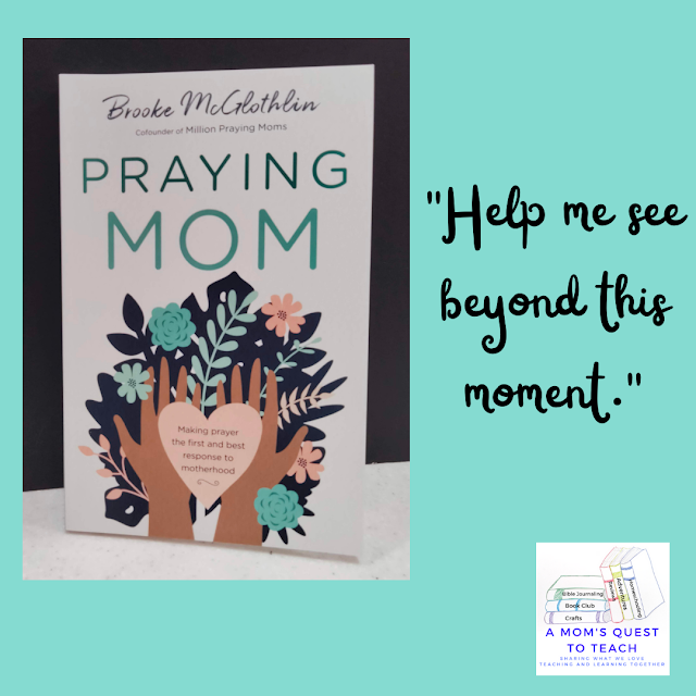 """A Mom's Quest to Teach: Book Club: Book Review of Praying Mom with book cover and text """"help me see beyond this moment"""""""