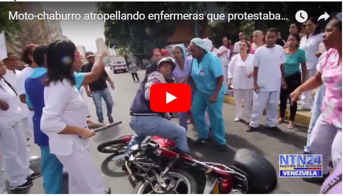 Motorizado que atropelló a enfermeras que protestaban fue casi linchado
